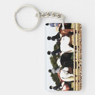 Horse Show Line Up Double-Sided Rectangular Acrylic Keychain