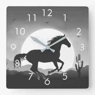 Horse Silhouette at Sunset Desert Wall Clock