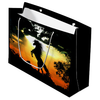 Horse silhouette at sunset large gift bag