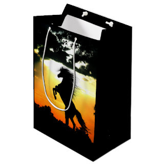 Horse silhouette at sunset medium gift bag