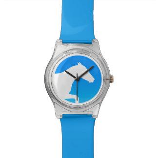 Horse Silhouette Blue Wristwatch