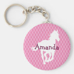 Horse Silhouette Diamond Pattern Custom Basic Round Button Key Ring