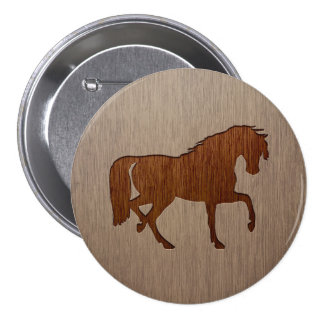Horse silhouette engraved on wood effect 7.5 cm round badge