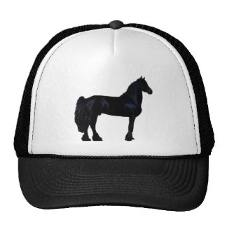Horse silhouette in black and white cap