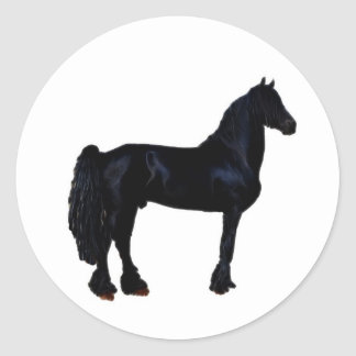 Horse silhouette in black and white round sticker