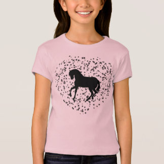 Horse silhouette on heart background T-Shirt