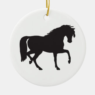 Horse Silhouette Round Ceramic Decoration