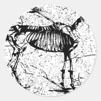 Horse Skeleton black and white Round Sticker