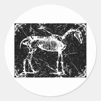 Horse skeleton white round sticker