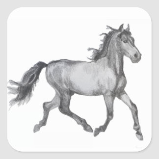 Horse Sketch Black And White Square Sticker