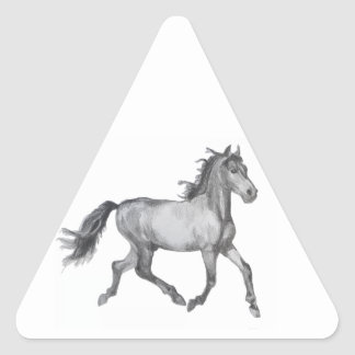 Horse Sketch Black And White Triangle Sticker