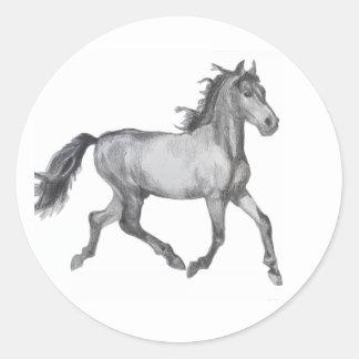 Horse Sketch Black And White Round Sticker