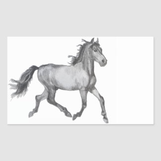 Horse Sketch Black And White Rectangle Stickers
