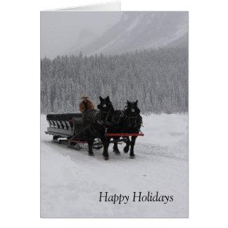 Horse Sleigh at Lake Louise Greeting Cards