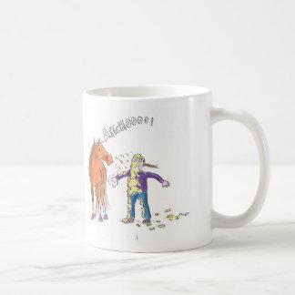 Horse sneezes basic white mug