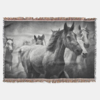 Horse Stampede Throw Blanket