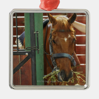 Horse standing in a stable Silver-Colored square decoration