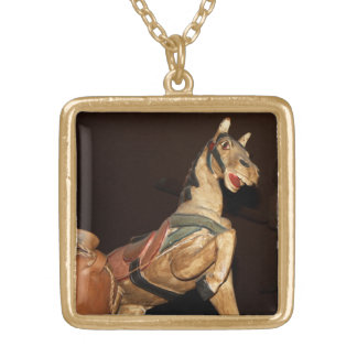 Horse Statue and Decor at Mexican Restaurant Square Pendant Necklace