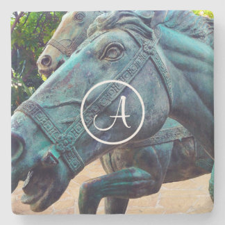 Horse statue photo custom monogram stone coaster