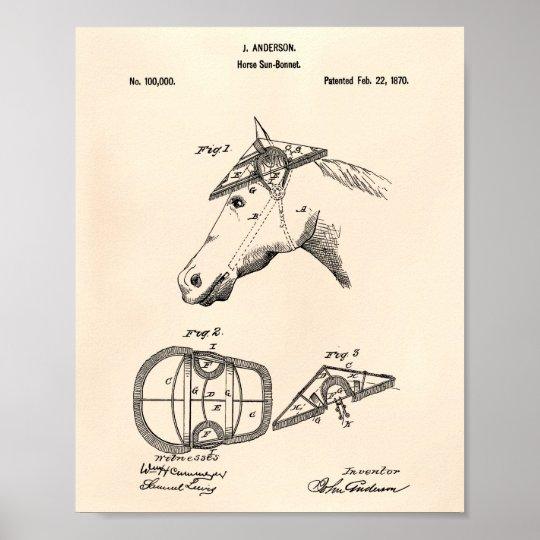 Horse Sunbonnet 1870 Patent Art Old Peper Poster