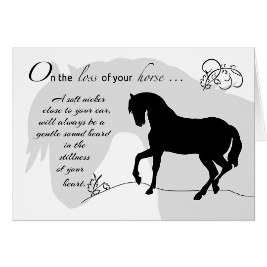Horse Sympathy Black Silhouette Card