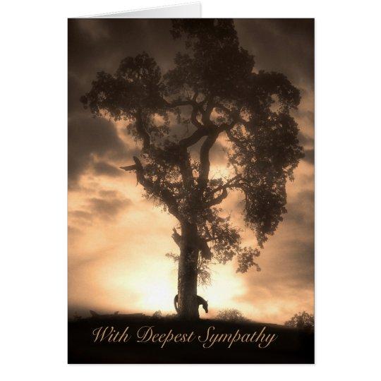 Horse Sympathy Sepia Horse and Oak Tree Card