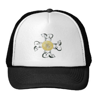 Horse- the Four Direction, Sumi-e Mesh Hat