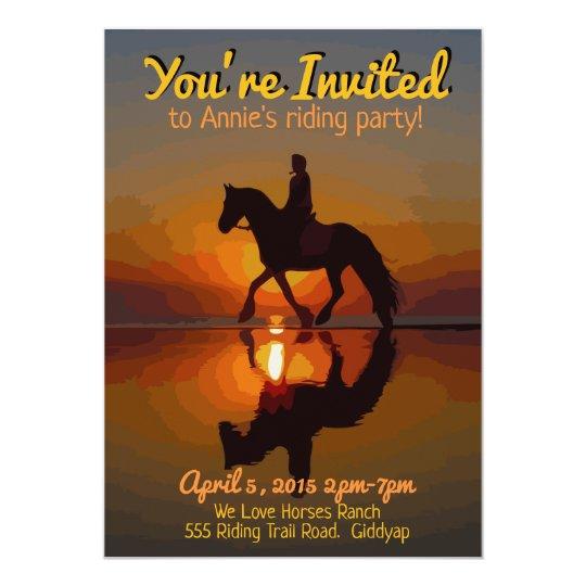 Horse Theme Invitation. Horseback Riding Party Card