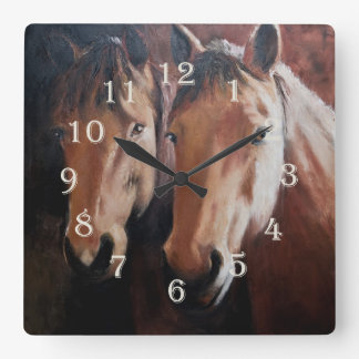 Horse Themed Clock with Two Horses