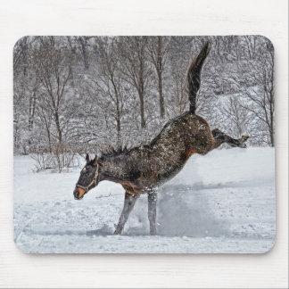 Horse Thoroughbred Snow Joy Mousepad