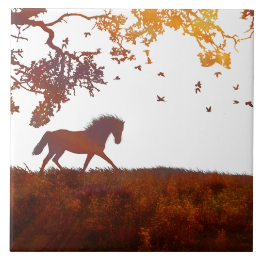 Horse Tile, Modern Minimalist Abstract Earth Tones Tile