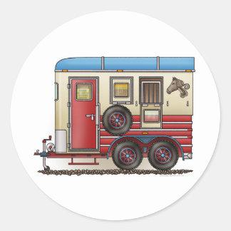 Horse Trailer Camper Round Sticker