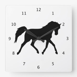 Horse trotting beautiful black silhouette square wall clock