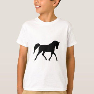 Horse trotting black silhouette kids t-shirt, gift shirts