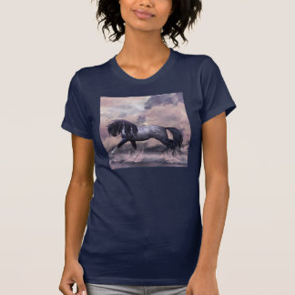 Horse trotting through the waves equine t-shirt