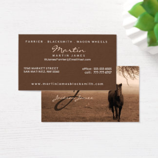 Horse Under the Oak Tree Sepia with Monogram Business Card