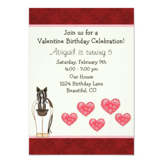 Horse Valentine Birthday Invitation for Girls