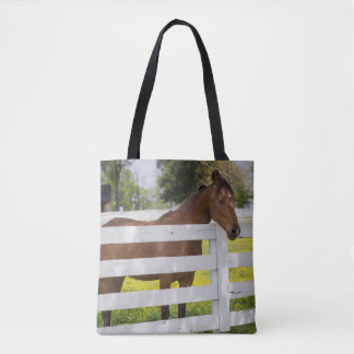 Horse Waiting by the Fence Tote Bag