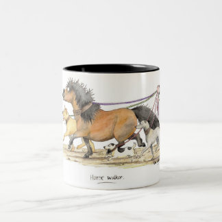'Horse Walker' Mug. Two-Tone Coffee Mug