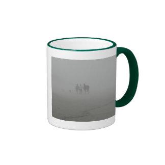 Horse Walking on the Beach in the fog Ringer Mug
