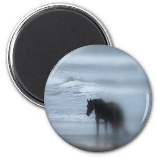Horse walking the beach Newport Rhode Island 6 Cm Round Magnet
