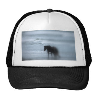 Horse walking the beach Newport Rhode Island Mesh Hats