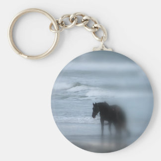 Horse walking the beach Newport Rhode Island Basic Round Button Key Ring