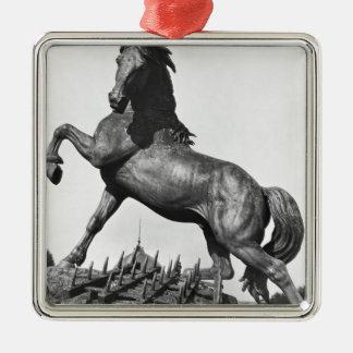 Horse with a harrow christmas ornament