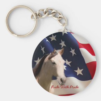 Horse With American Flag Keychain