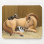 Horse with Cat Friends Mousepad