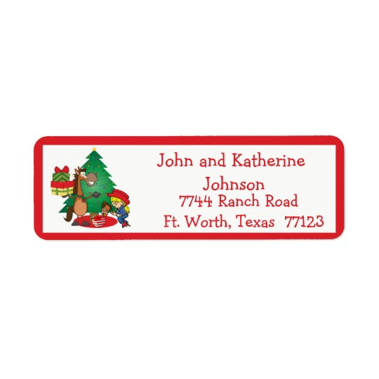 Horse With Gifts and Stick Horse Cowgirl  Label
