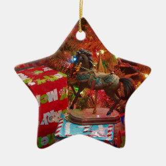 Horse with Presents Star Ornament