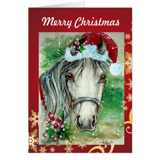 Horse with Santa Hat Christmas Card