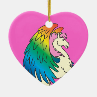 Horse with the Rainbow Wings Ceramic Heart Decoration